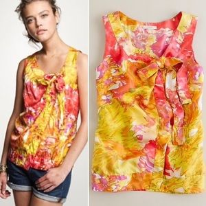 J. Crew Floral Front Tie Silk Blouse | B20_22